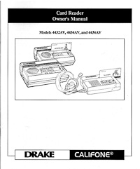 Califone Model 4432AV, 4434AV and 4436AV Card Reader Owner's Manual