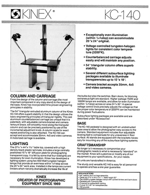 Kinex KC-140 Photographic Copy Stand Owner's Manual