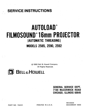Bell & Howell 2585, 2590 & 2592 Filmosound 16mm Service and Parts Manual