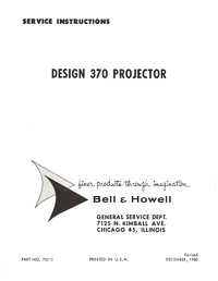 8mm Bell & Howell Projector Design 370 Lumina 1.2 Service and Parts Manual