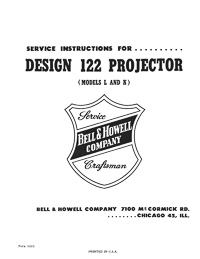 8mm Bell & Howell Projector Models 122-L and 122-K Service and Parts Manual