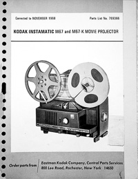Kodak 8mm Instamatic M67 and M67-K Projector Parts Manual