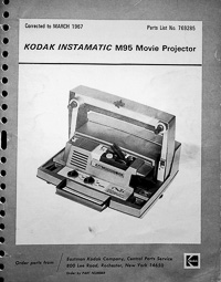 Kodak 8mm Instamatic M95 Projector Parts Manual