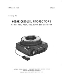 Kodak Carousel 760, 760H, 850, 850H, 860 & 860H Slide Projector Service and Parts Manual
