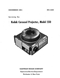Kodak Carousel 550 Slide Projector Service and Parts Manual