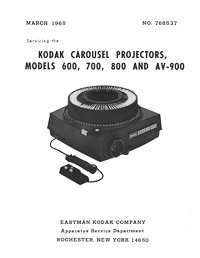 Kodak Carousel Models 600, 700, 800, AV-900 Slide Projector Service Manual