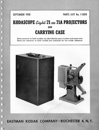 Kodascope Eight-71 and 71A 8mm Movie Projector Parts Manual