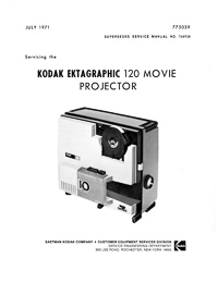 Kodak Ektagraphic 120 Super 8 Cartridge Movie Projector Service Manual