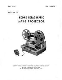 Kodak Ektagraphic MFS-8 8mm Movie Projector Service Manual