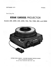 Kodak Carousel Slide Projector 600, 650, 700, 750, 800 Service and Parts Manual