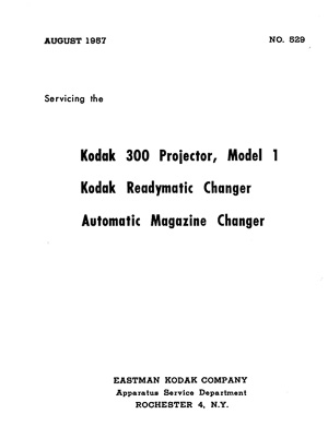 Kodak 300 Slide Projector Model 1 Service and Parts Manual