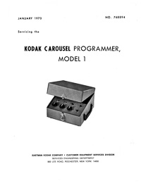 Kodak Carousel Programmer Model 1 Service and Parts Manual