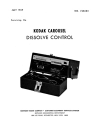 Kodak Carousel Dissolve Control Service and Parts Manual