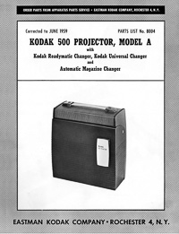 Kodak 500 Model A Slide Projector Parts Manual