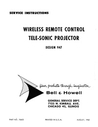 Bell & Howell 947 Tele-Sonic Slide Projector Service and Parts Manual