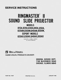 Bell & Howell Ringmaster II Sound Slide Projector Service and Parts Manual