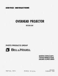 Bell & Howell Design 301 Overhead Projector Service and Parts Manual