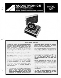 Audiotronics Record Player 303 Service Guide