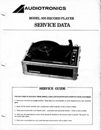 Audiotronics Record Player 305 Service Guide
