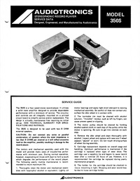 Audiotronics Record Player 350S Service Guide