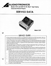 Audiotronics Record Player 312T Service Guide