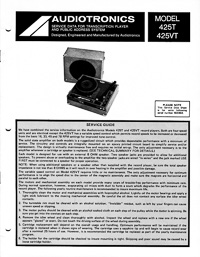 Audiotronics Record Player 425T, 425VT Service Guide