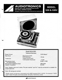 Audiotronics Record Player 530, 530V Service Guide